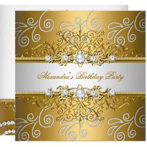 Elegant Gold Silver Lace Diamond Overlay Party Invitation