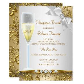 Elegant Gold Silver White Champagne Brunch Card