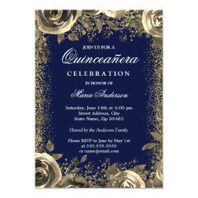 Elegant Gold Sparkle Glitter Quinceanera Invite