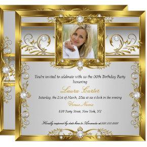 Elegant Gold White Pearl Photo Birthday Party Invitations