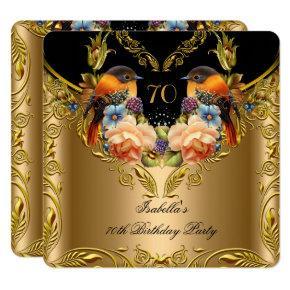 Elegant Gold Yellow Bird Black 70th Birthday Invitations
