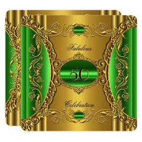 Elegant Green Lime Gold Fabulous 50th Birthday Card