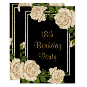 Elegant Ivory Roses & Gold Glitter 18th Birthday Invitation