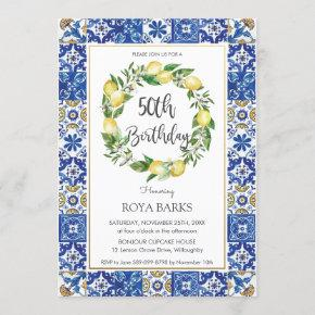 Elegant Lemon Mediterranean 50th Birthday Party Invitation