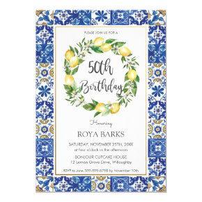 Elegant Lemon Mediterranean 50th Birthday Party Invitation