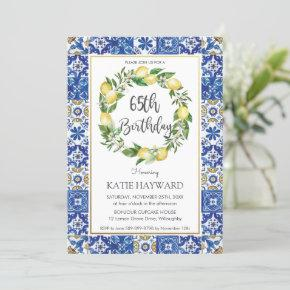 Elegant Lemon Mediterranean 65th Birthday Party Invitation