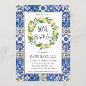 Elegant Lemon Mediterranean 80th Birthday Party Invitation