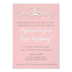 Elegant Magical Princess Pink Tiara Invite