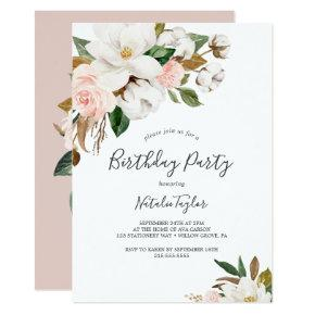 Elegant Magnolia | White and Blush Birthday Party Invitation