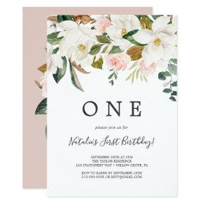 Elegant Magnolia | White and Blush First Birthday Invitation