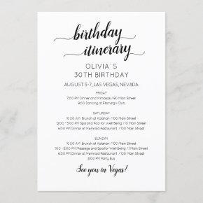 Elegant Minimalist Birthday Itinerary Invitation