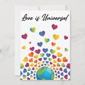 Elegant Minimalist Colorful Rainbow Heart Design Invitation