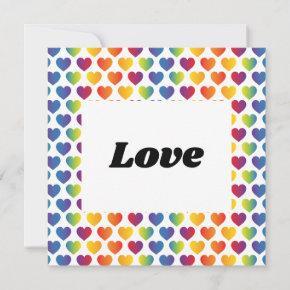 Elegant Minimalist Rainbow Heart Design Invitation