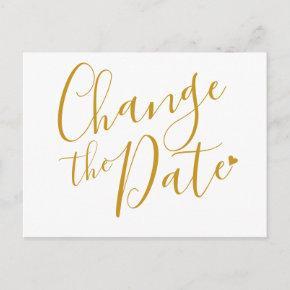 Elegant Modern Change the Date Gold Script Post