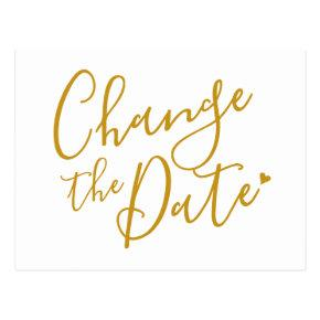 Elegant Modern Change the Date Gold Script Post