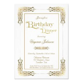 Elegant Ornate Gold Lace Birthday Dinner Party Invitation