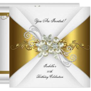 Elegant Pearl Gold Silver Diamond Birthday Party 2 Invitations