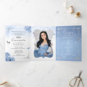 Elegant Photo Spanish Baby Blue Silver Quinceanera Tri-Fold Invitation