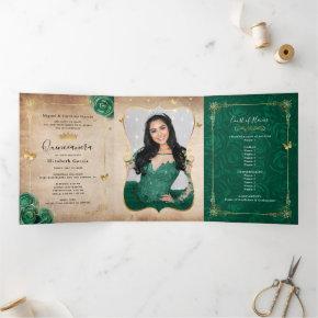 Elegant Photo Spanish Green Rose Gold Quinceanera Tri-Fold Invitation