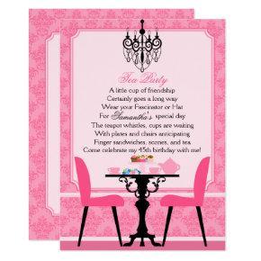 Elegant Pink Damask Birthday Tea Party Invitation
