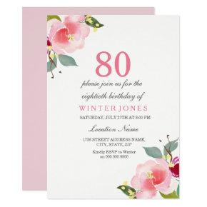 Elegant Pink Floral 80th Birthday Party Invitation