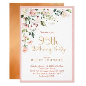 Elegant Pink Gold Floral Womans 95th Birthday Invitation