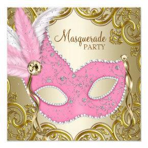 Elegant Pink Gold Mask Masquerade Party Invitation
