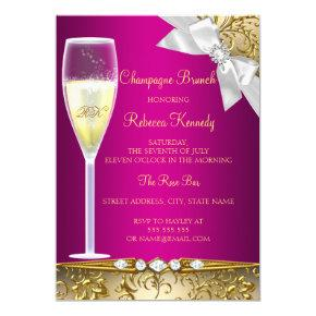 Elegant Pink Gold White Champagne Brunch Invite