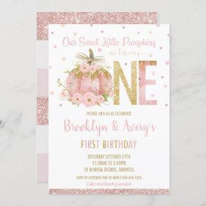 Elegant Pink Pumpkin 1st Birthday One Twin Girls Invitation
