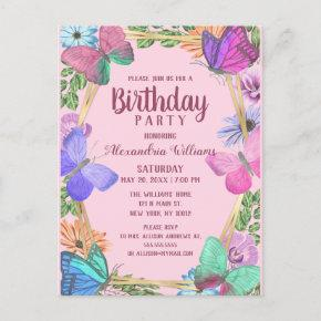 Elegant Pink Purple Floral Butterfly Birthday Invitation Post