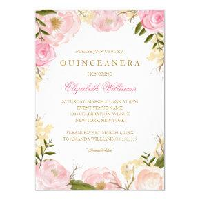 Elegant Pink Rose Quinceanera Invitations