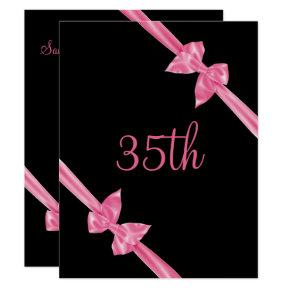 Elegant Pink Satin Bows 35th Birthday Invitations