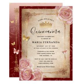 Elegant Pink Watercolor Rose Gold Quinceanera Invitation