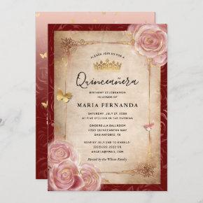 Elegant Pink Watercolor Rose Gold Quinceanera Invitation