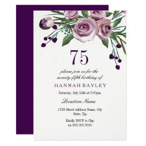 Elegant Plum Purple Rose 75th Birthday Invitations