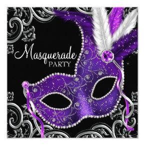 Elegant Purple and Black Masquerade Party Card