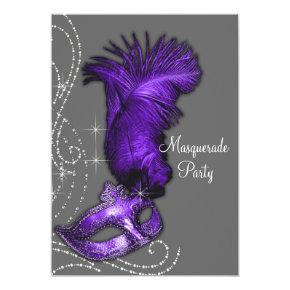 Elegant Purple and Gray Masquerade Party Invitation
