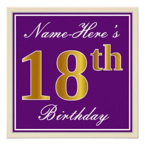 Elegant, Purple, Faux Gold 18th Birthday   Name Card