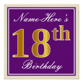 Elegant, Purple, Faux Gold 18th Birthday + Name Invitation