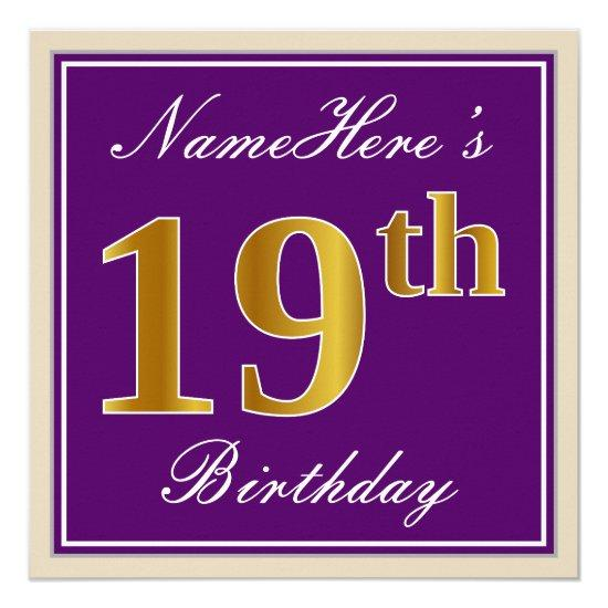 Elegant Purple Faux Gold 19th Birthday Name Card Candied Clouds