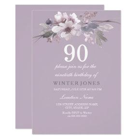 Elegant Purple Floral 90th Birthday Party Invite