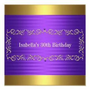Elegant Purple & Gold Jewel Birthday Event Invitation