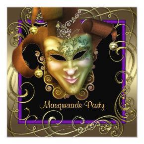 Elegant Purple Gold Masquerade Party Invitations