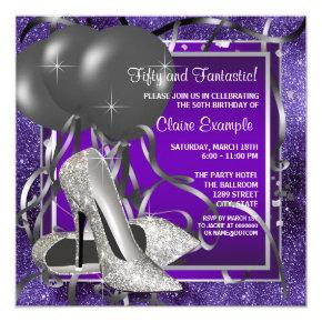 Elegant Purple High Heels Birthday Party Invitation
