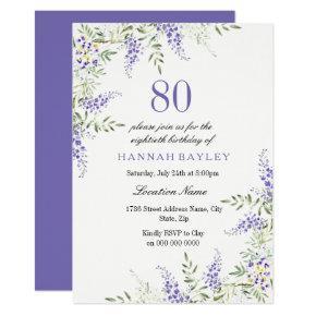 Elegant Purple Lavender 80th Birthday Invite