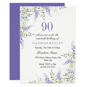 Elegant Purple Lavender 90th Birthday Invite