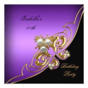Elegant Purple White Black Gold Pearl Birthday Invitations