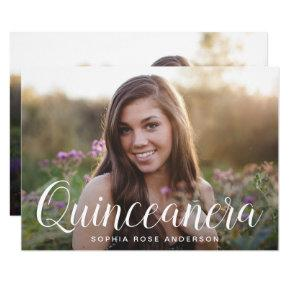 Elegant Quinceañera 2-sided Photo Birthday Party Invitation