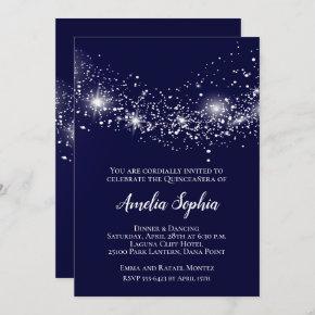 Elegant Quinceañera Glitter Navy Blue Invites