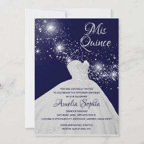 Elegant Quinceañera White Gown on Starry Night Sky